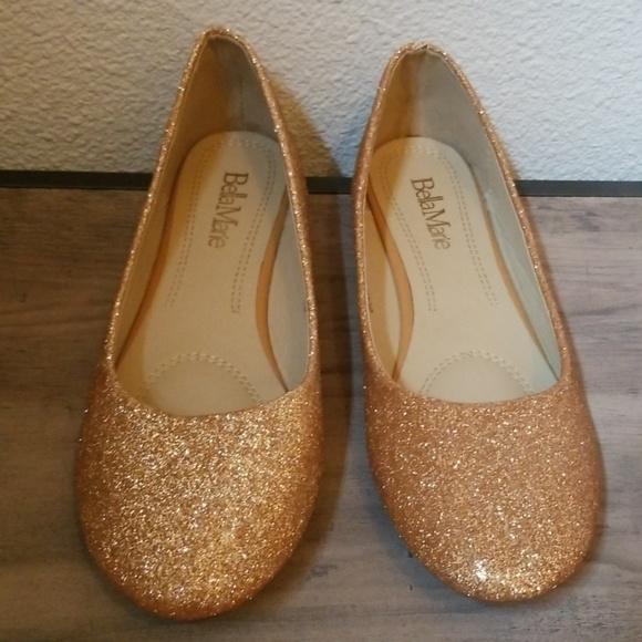Bella Marie Shoes   Gold Glitter Flats   Poshmark